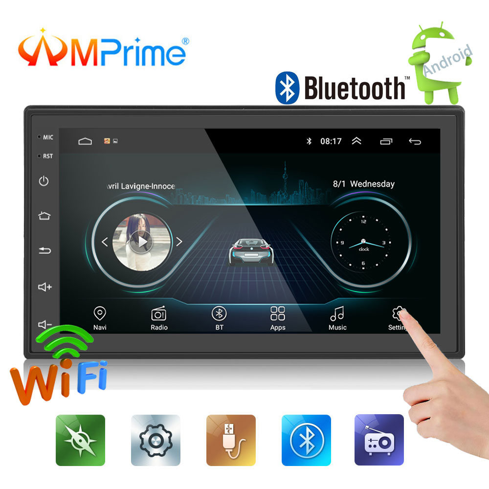 AMPrime Android 2din Car Radio audio autoradio 7''LCD Touch screen MP5 Player Bluetooth WIFI GPS FM AM Car multimedia player
