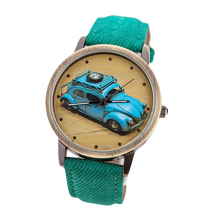 Dropshipping Concise Fashion Men And Women Retro Car Pattern Denim Twill Strap Watch fashion twill pattern 5cm width color block tie for men