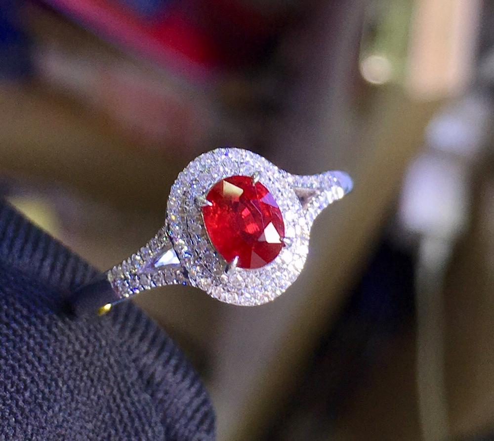 Ruby Ring Pure 18 K Gold Jewelry Real Natural 0.51ct Red Ruby Diamond Jewelry Anniversary Female's Rings for Women's Fine Rings