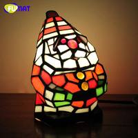 FUMAT Tiffany Stained Glass Desk Lamps Novelty Handcraft Table Lights Santa Claus Snowman Christmas Trees Gift Box Horse Shape