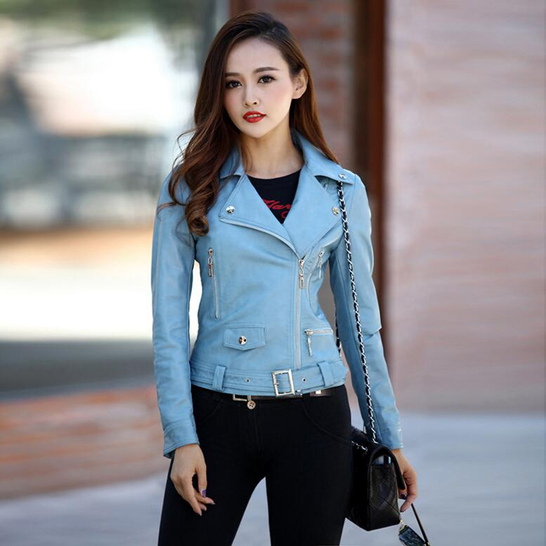 4915e269ca3b7 2017 Spring new Fashion women Slim-fitting short leather jackets Autumn  Winter Female motorcycle leather jackets coat plus size