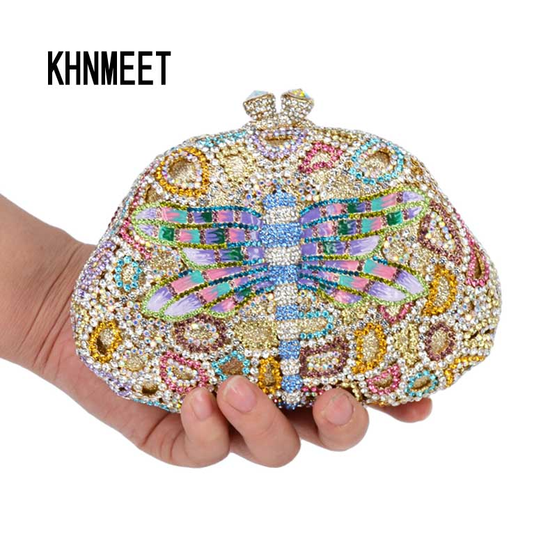Фотография Luxury Lastest Diamond Crystal Clutch Bag Lovely Dragonfly Design Drops of oil diamante Party Evening Bag banquet Purse SC528