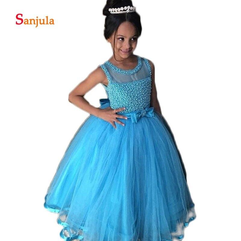 Bleu Tulle enfants robe étincelle perles bouffantes fleur filles robes o-cou arc taille mignonne robe de soirée de mariage pour enfants D94
