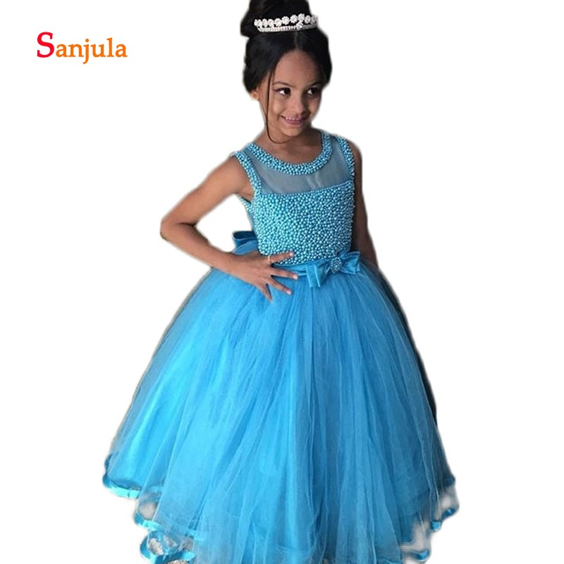 Blue Tulle Children Dress Sparkle Pearls Puffy Flower Girls Dresses O Neck Bow Waist Cute Wedding Party Dress for Children D94