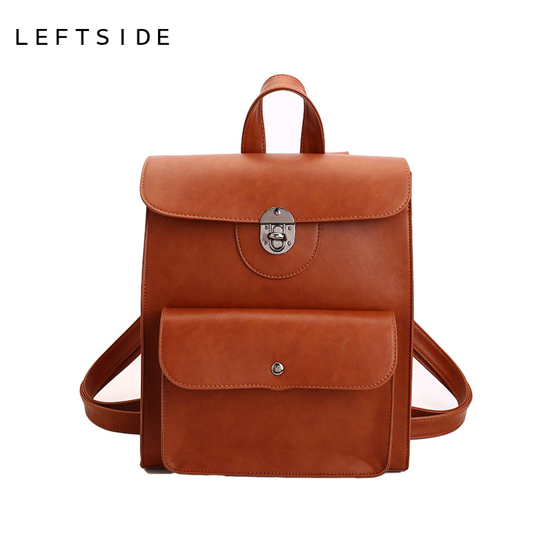 LEFTSIDE Women Big Backpacks High Quality PU Leather Teen Backpack for Teenage Girls School Pack Bag Vintage 2017 Famous Brand