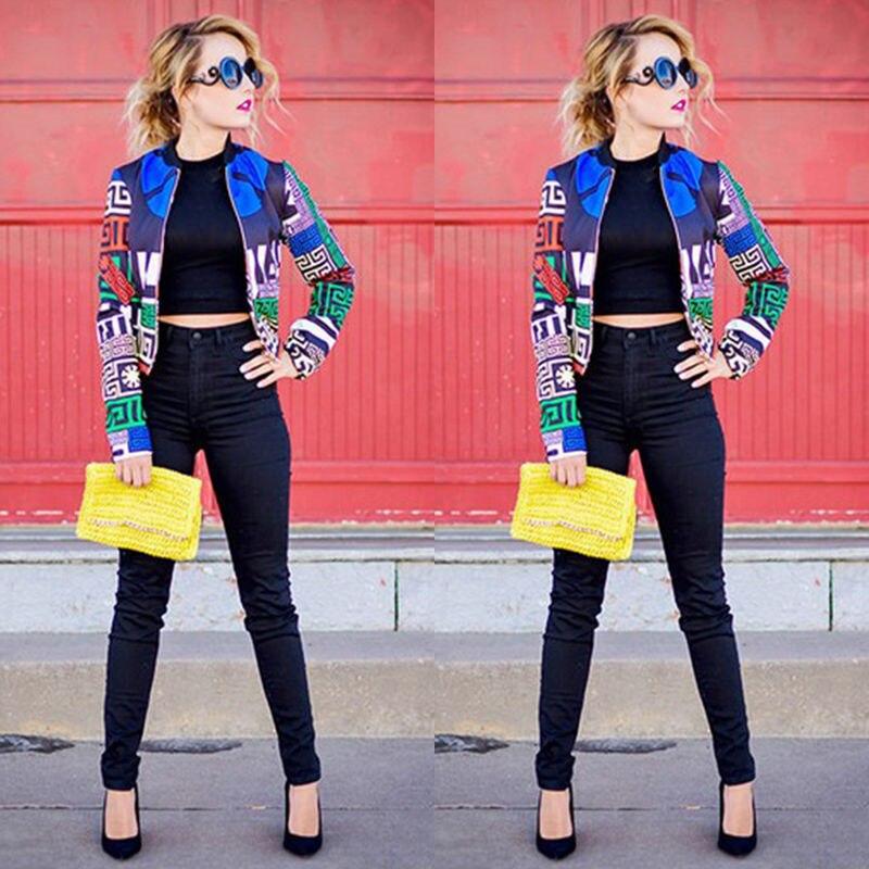 Hirigin 2017 Mode Femmes Street Style Veste Motif Écrêtage Aléatoire Distribution Cool Zipper Denim Veste Femmes Bomber Veste
