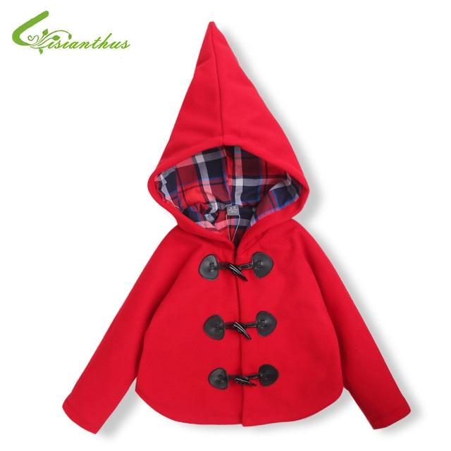 be19ec4828c Girls Woolen Jacket Children Hoodies Plaid Lining Autumn Coat Princess  Outwear Clothing Christmas Party Costume Free