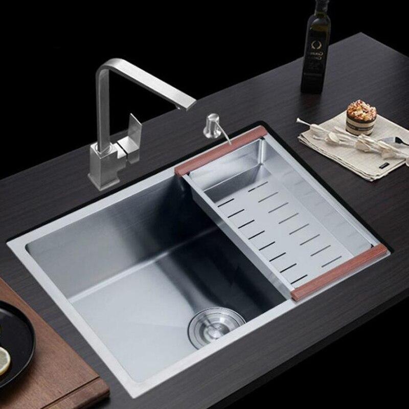 304 pia de cozinha em aço inoxidável mais desenho manual 3mm abaixo no slot único quadrado bacias piscina ÚNICA BACIA com torneira