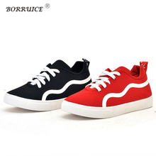 Women Shoes New Canvas Shoes Fashion Casual Student Youth Platform Sneakers  Sports Shoes Stripe Black Red. 2 Colors Available 1b35150f5c9c