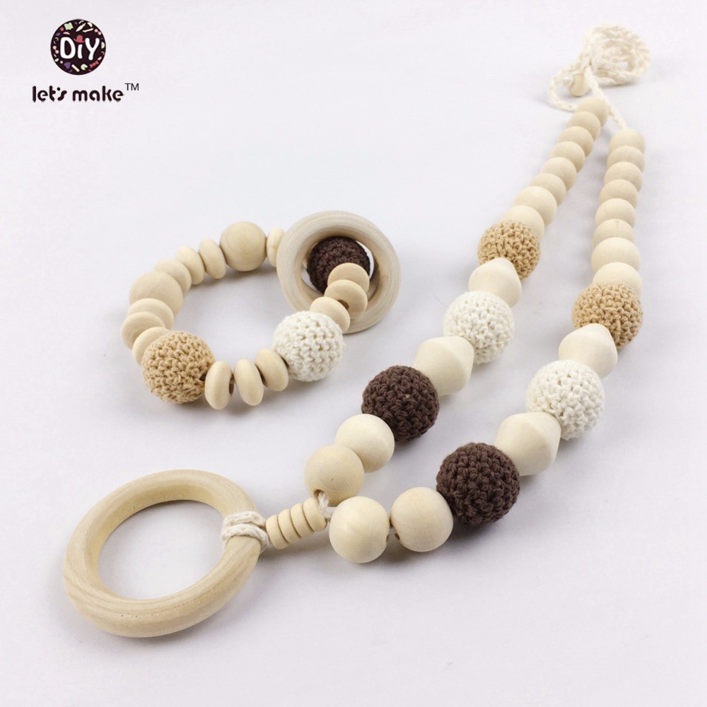 Let's make Wooden Teether A Set Mom Necklace With Wood Ring Non-toxic DIY Crafts Baby Chew Toys Beech Beads Funny For New Baby
