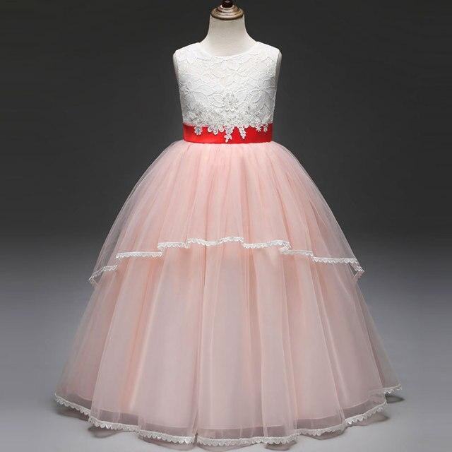 16 07 2018 3 8y Ninos Vestido Para Ninas Boda Tulle Encaje Largo Vestido Elegante Princesa Partido Pageant Vestido Formal Para Adolescentes
