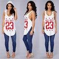 Sexy Camiseta Sem Mangas e Com Capuz Número 23 Carta Impressão boné de Beisebol Longo T Shirt Mulheres Moda Irregular Camiseta Femme