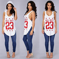 Sexy Sleeveless T Shirt With Hood Number 23 Letter Print Long Baseball T Shirt Women Fashion Irregular Tee Shirt Femme