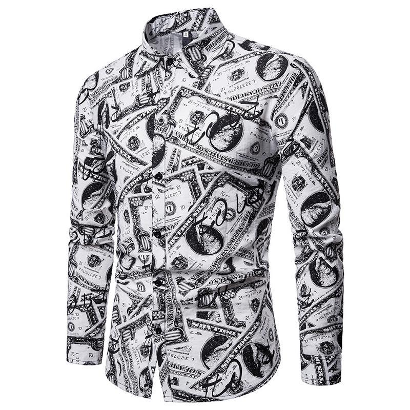 Dollar Pattern Mens Long sleeve Shirt Casual Dress Shirts Blouse Clothing Slim fit