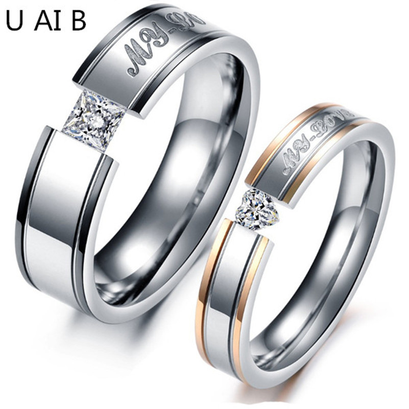 <font><b>MY</b></font> <font><b>LOVE</b></font> black - Rose Gold plated simulated Diamond titanium steel rings couple rings male and female models price for 1 piece