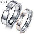 Mi amor negro de acero titanium de rose plateó el diamante simulado anillos anillos de pareja masculina y femenina modelos de precio para 1 unidades
