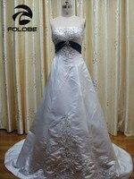 Vestidos De Novia индивидуальный заказ белый и Королевский синий Вышивка Бисер блестками line Атлас Свадебные платья открытой спиной Свадебные плат