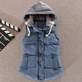 2016 women's cotton wool collar hooded down vest Removable hat Hot Brand New female winter warm Jacket&Outerwear Thicken