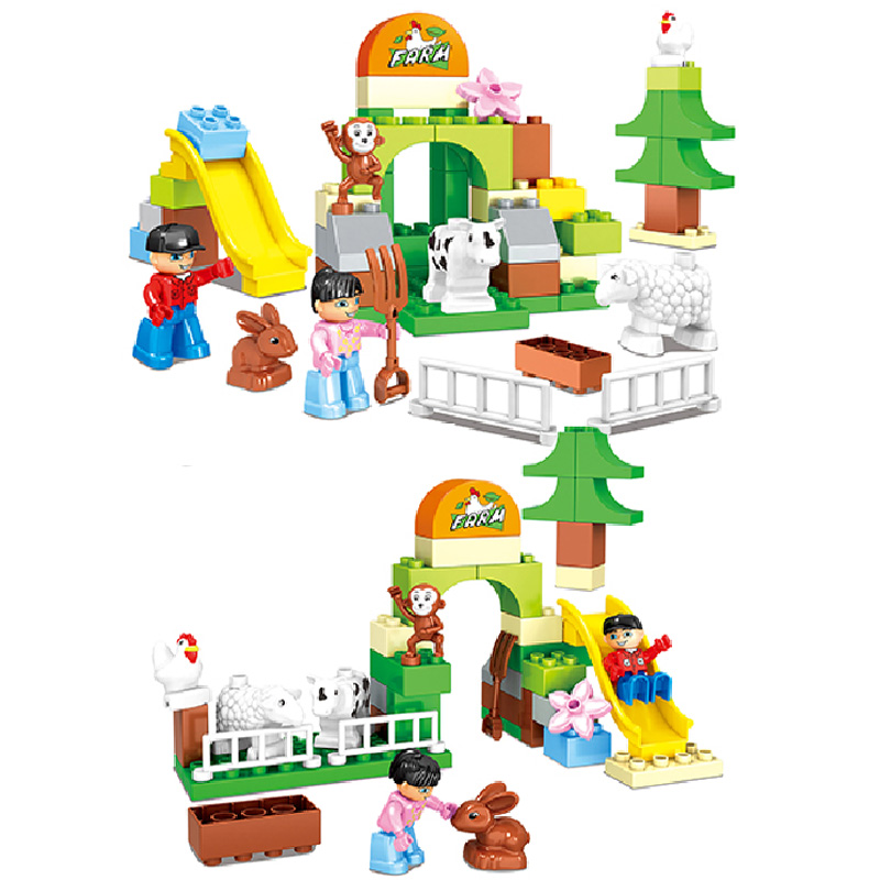 54pcs Happy Animal Farm Building Blocks Toys Compatible With Duploe Animals Sets Toy Bricks ...