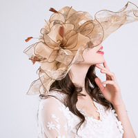 2017 Fashion Pearl Net Yarn Women S Summer Sun Hats For Lady Flowers New Hot Beach