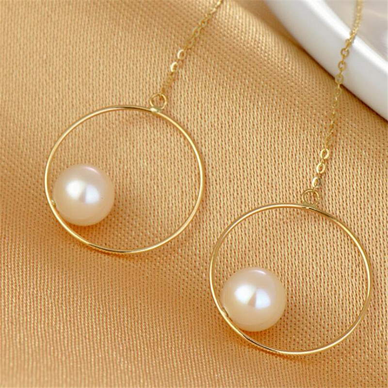 Long 7 5 8mm Freshwater Pearl South Korea Gold Color Eardrop Round Circle Ear Line 18K Gold Drop Earrings For Women in Earrings from Jewelry Accessories