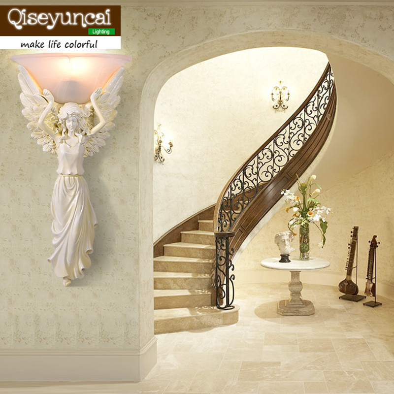 Qiseyuncai 2018 new European Retro Resin Angel Wall lamp Living room backdrop Bedroom Bedside Aisle Corridor Wall lamp european retro peacock resin wall aisle living room bedroom decoration lamp size 40 49cm ac110 240v