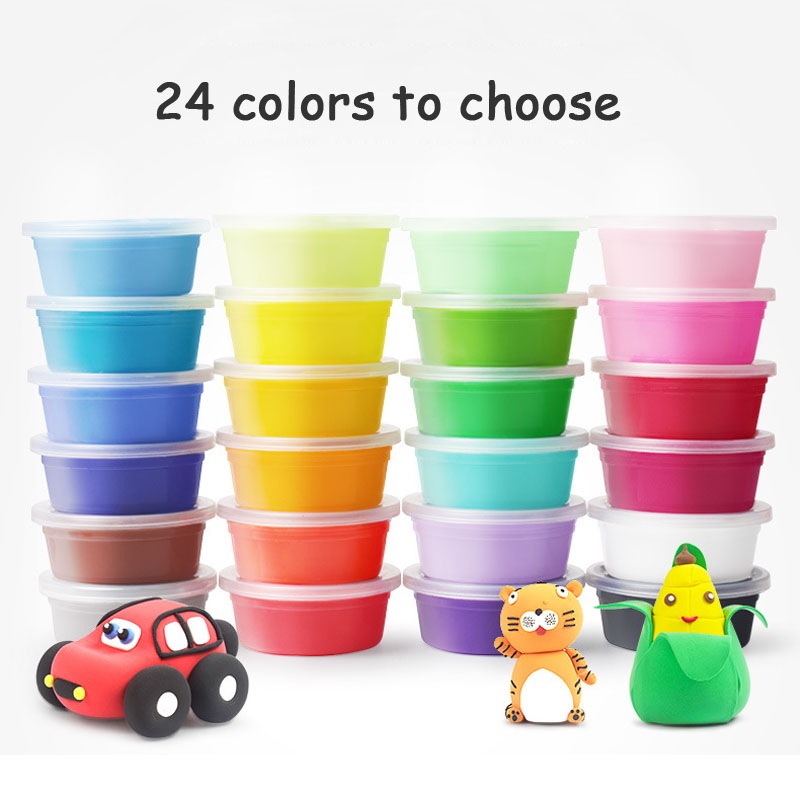 Mini Air Dry Clay Polymer Play Dough Plasticine Light Soft Modeling Clay EVA Handgum Jumping DIY Foam Playdough Educational Toys