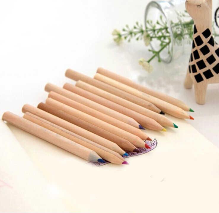 12 יח'\אריזה 12 צבעים יפה מיני צבעוני עיפרון עץ ציור בצבע עפרונות עם מחדד