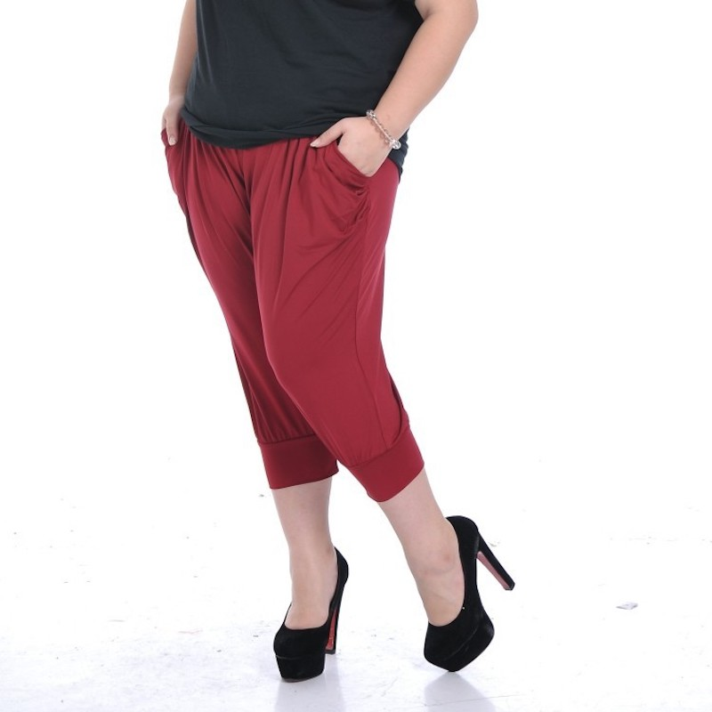 EF509 Women's Elastic Waist Harem Pants Casual Loose Capris Streetwear With Pockets Solid Female Trousers