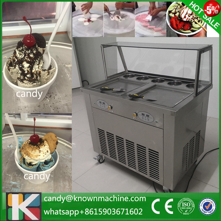 Free shipping by sea 110V 220V fried ice cream machine double R410a refrigerant double pans with cover  family car with a refrigerator for ice creams bottle drinks free shipping by sea