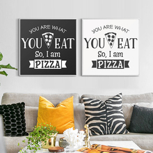 Modern English Phrase Food Pizza Pattern Abstract Canvas Painting Art Print Posters Wall Picture for The Home Decoration OT028