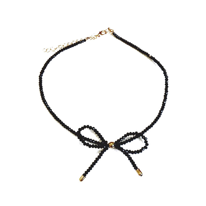 XIAO YOUNG Black Crystal Choker Necklace And Bracelets Simple Bowknot Fashion Jewelry For Women Cute Gift 2017 New Arrival