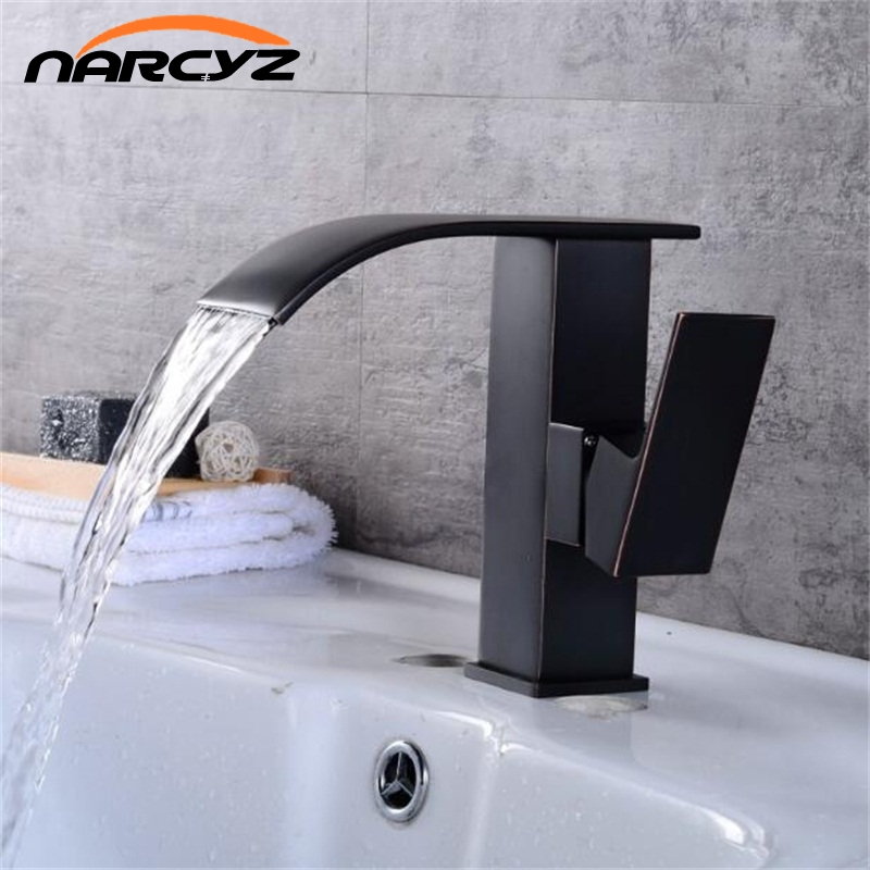 European black bronze black faucet bathroom basin hot and cold faucet waterfall single-hole washbasin on the basin B521 american black three hole retro basin faucet european style washbasin bathroom hot and cold split bathtub faucet lu41316