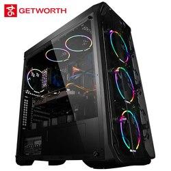 GETWORTH R31 жидкостный охлаждающий компьютер Intel I7 Настольный I7 8700K GTX1060 6 ГБ WD 240G SSD 8 Гб RAM Win10 5 LED вентиляторы водяное охлаждение ПК