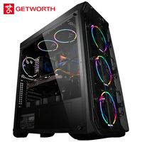GETWORTH R31 Liquid Cooling Computer Intel I7 Desktop I7 8700K GTX1060 6GB WD 240G SSD 8G RAM Win10 5 LED Fans Water Cooling PC