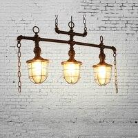 Loft decorative art water pipe pendant lights. Retro wrought iron loft Bar cafe lamp. vintage dining room suspension glass shade