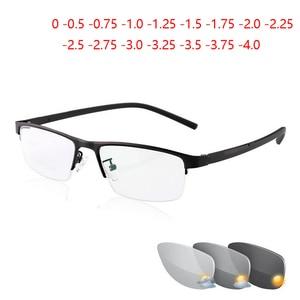 Image 1 - 0  0.5  0.75 4ハーフフレームphotochromism近視メガネ男性金属正方形太陽変色半袖近視眼鏡女性