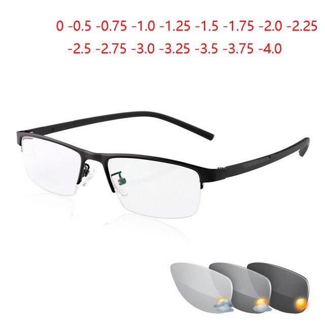 0  0.5  0.75 4ハーフフレームphotochromism近視メガネ男性金属正方形太陽変色半袖近視眼鏡女性
