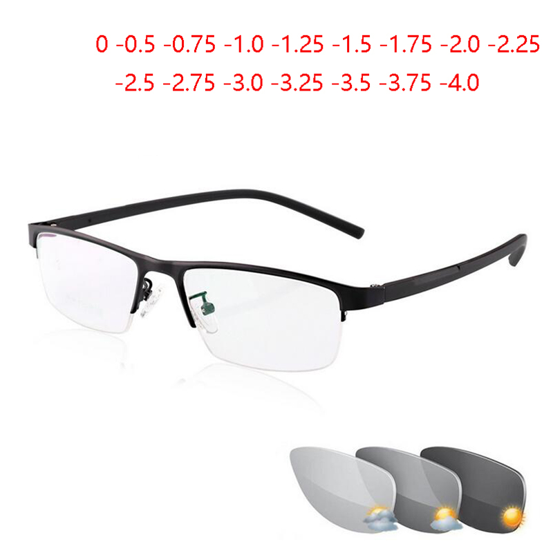 0  0.5  0.75 To  4 Half Frame Photochromism Myopia Glasses Men Metal Square Sun Discoloration Short sighted Eyeglasses Women-in Men's Sunglasses from Apparel Accessories on AliExpress