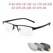 0  0.5  0.75 To  4 pół ramki fotochromizm okulary dla osób z krótkowzrocznością mężczyźni Metal Square Sun przebarwienia krótkowzroczne okulary kobiety