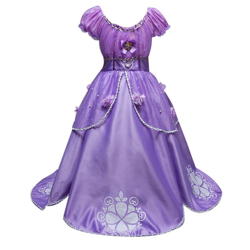 Summer Princess Dresses Girls Sofia Cosplay Costume Children Halloween Birthday Party Tutu Dress Purple Cinderella Dream Clothes new girl blue cinderella dress summer fancy halloween party show princess cinderella dress for cosplay party costume clothes