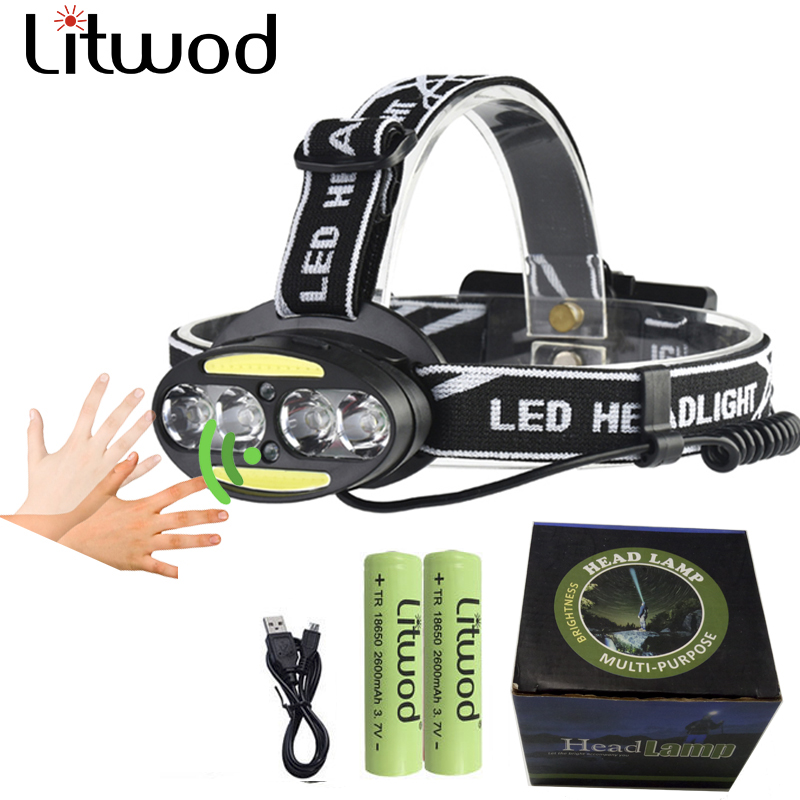 Micro USB 8 leds headlight with Red light headlamp xml-t6 head Inductive receiver flashlight 2 kinds camping torch choose