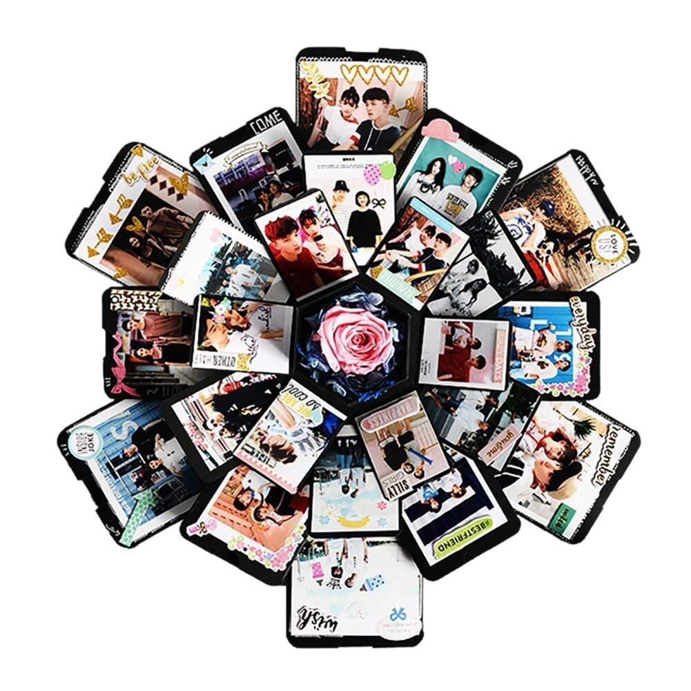 Único 5 capas 6 lados explosión caja de regalo Día de San Valentín regalo para chica caja de regalo innovadora caja de regalo de cumpleaños álbum de fotos DIY