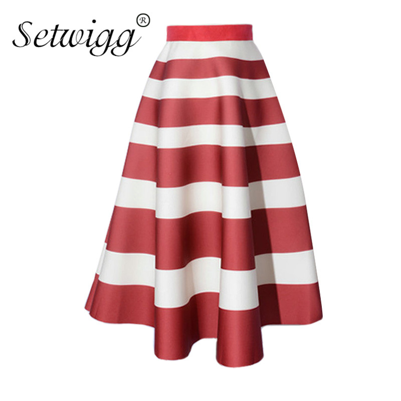 SETWIGG Autumn Scuba Wide Striped Thick Long Flare Skirts Elastic Waist Stripes Printed Puff Calf Sakter Long Skirt