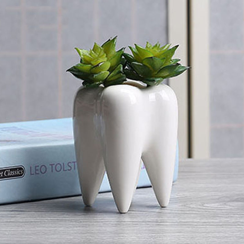 White Ceramic Fleshy Small Flowerpot Tooth Shape Table Plant Pot Culture Flower Pot Home Decoration Bonsai Pots For Green Plants