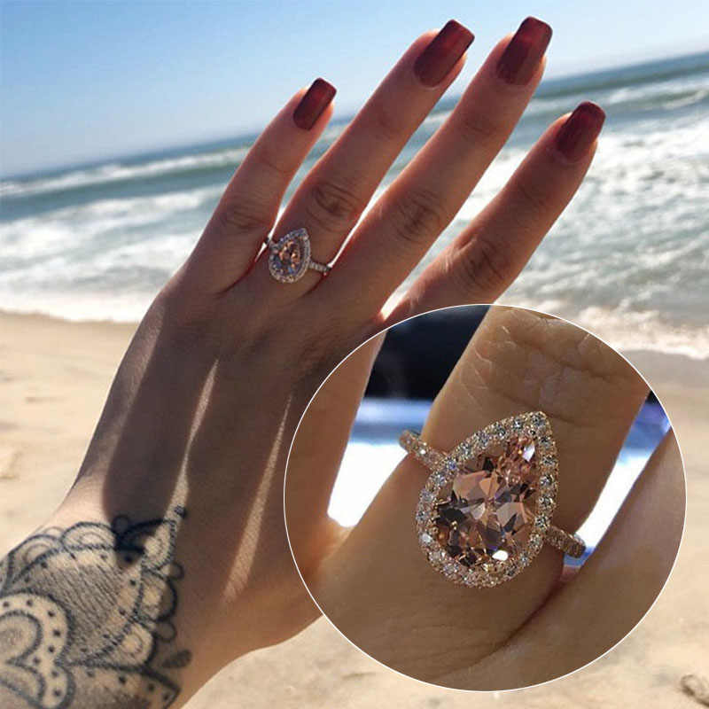 Trendy heart-shaped rose gold ring women engagement wedding jewelry cubic zirconia drop crystal hollow design girls finger rings