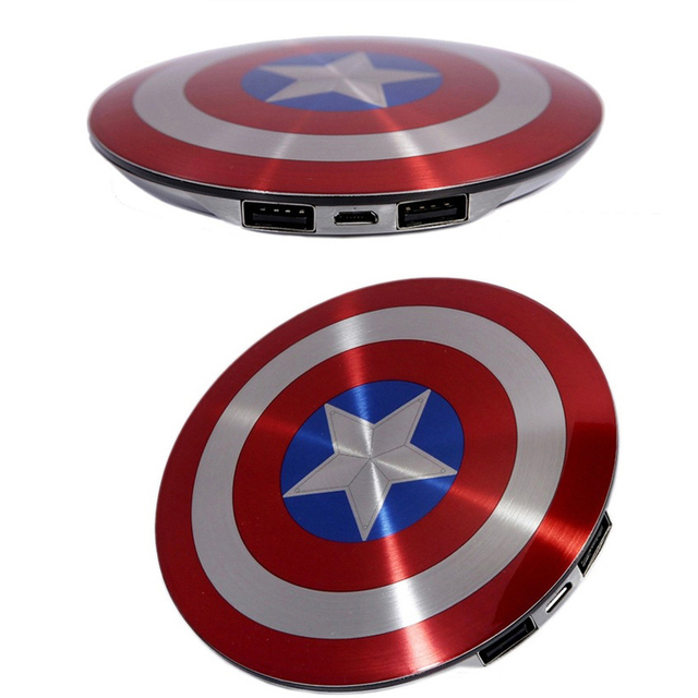 c28f3abdaee51d 6800 mAh Captain America Power Bank Avengers Captain America Shield Power  Bank Iron Man Charger for all mobile phone with box