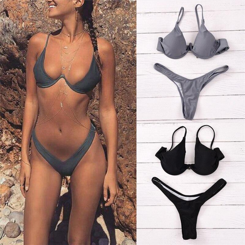 New High Waist Swimsuit High Cut Thong Bathing Suit Solid Swimwear Women Brazilian Biquini Beach Micro Bikini Set SMLXL