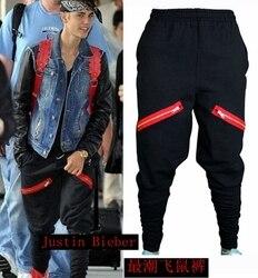 Лидер продаж, новинка, мужские облегающие брюки в стиле хип-хоп, Джастин Бибер, облегающие брюки на молнии, джоггеры, черные шаровары, мужски...