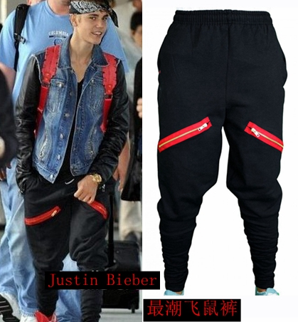 все цены на HOT Newest Hip Hop Men Justin Bieber Style Skinny Slim Zippers Pants Jogger Black Harem Pants male Singer Stage Trousers 27-39